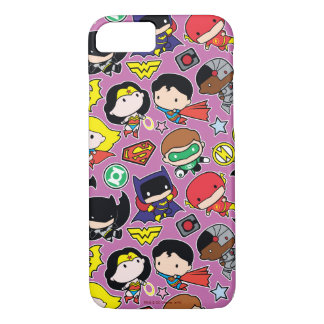 Chibi Justice League Pattern on Purple iPhone 7 Case