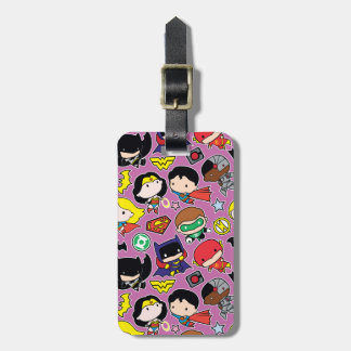 Chibi Justice League Pattern on Purple Luggage Tag