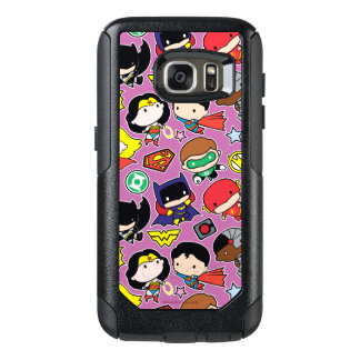 Chibi Justice League Pattern on Purple OtterBox Samsung Galaxy S7 Case