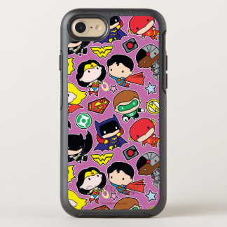 Chibi Justice League Pattern on Purple OtterBox Symmetry iPhone 8/7 Case