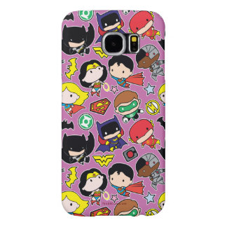 Chibi Justice League Pattern on Purple Samsung Galaxy S6 Cases