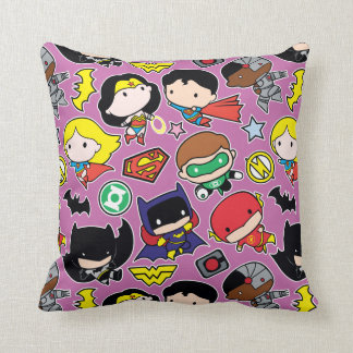 Chibi Justice League Pattern on Purple Throw Pillow