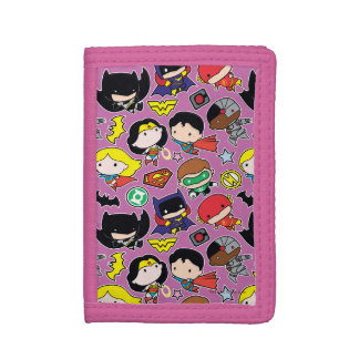 Chibi Justice League Pattern on Purple Trifold Wallet