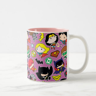Chibi Justice League Pattern on Purple Two-Tone Coffee Mug