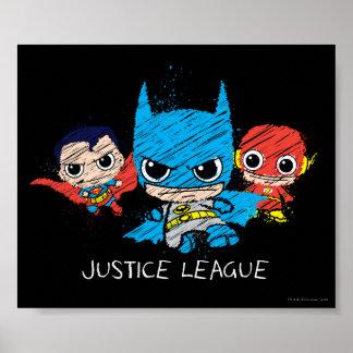 Chibi Justice League Sketch Poster