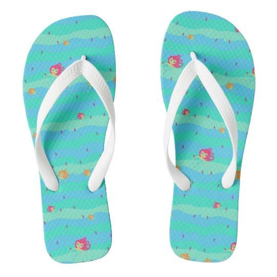 Chibi Mermaids & Seahorses flip-flops Thongs