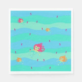 Chibi Mermaids & Seahorses paper napkins Disposable Napkin