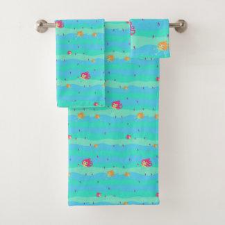 Chibi Mermaids & Seahorses towel set