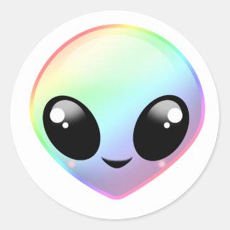 Chibi Rainbow Alien Classic Round Sticker