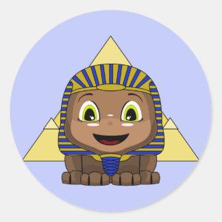 Chibi Sphinx With Pyramids Round Stickers