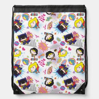 Chibi Super Heroine Pattern Drawstring Bag