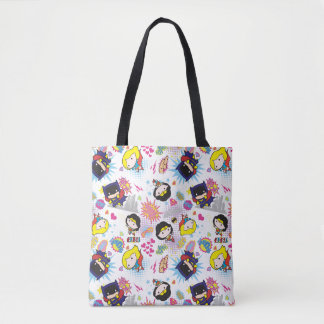 Chibi Super Heroine Pattern Tote Bag