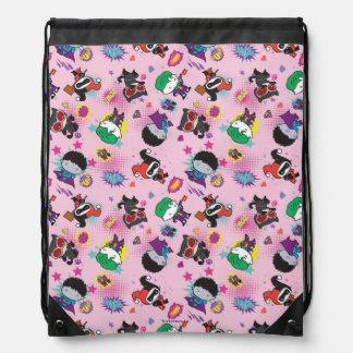 Chibi Super Villain Action Pattern Drawstring Bag