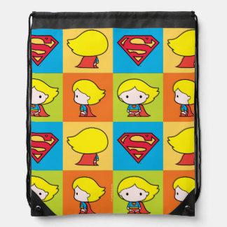 Chibi Supergirl Character Turnaround Drawstring Bag