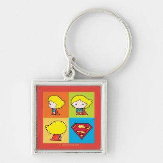 Chibi Supergirl Character Turnaround Key Ring