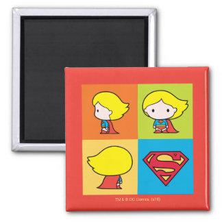 Chibi Supergirl Character Turnaround Square Magnet