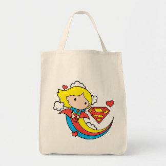 Chibi Supergirl Flying Rainbow