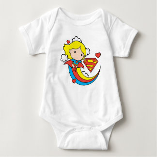 Chibi Supergirl Flying Rainbow Baby Bodysuit