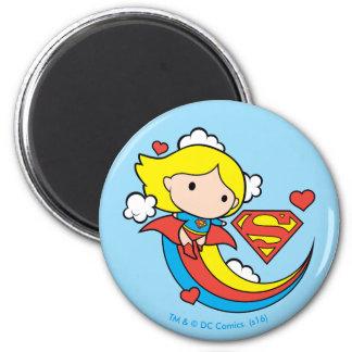 Chibi Supergirl Flying Rainbow Magnet