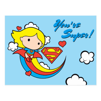 Chibi Supergirl Flying Rainbow Postcard