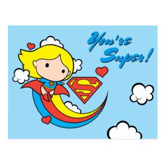 Chibi Supergirl Flying Rainbow Postcard