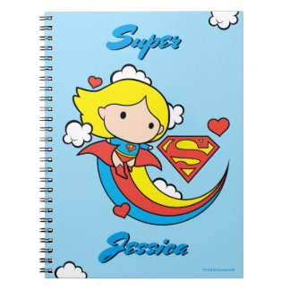 Chibi Supergirl Flying Rainbow Spiral Notebook