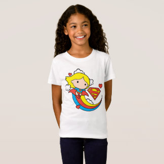 Chibi Supergirl Flying Rainbow T-Shirt