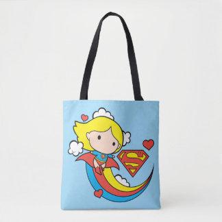 Chibi Supergirl Flying Rainbow Tote Bag