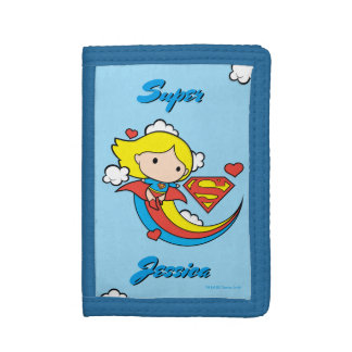 Chibi Supergirl Flying Rainbow Tri-fold Wallet