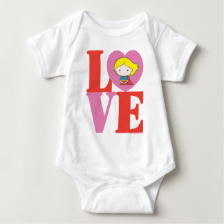 Chibi Supergirl LOVE Baby Bodysuit