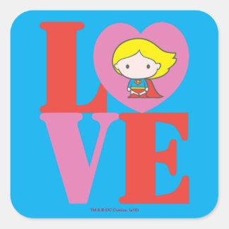 Chibi Supergirl LOVE Square Sticker