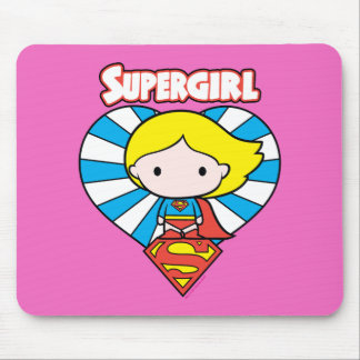 Chibi Supergirl Starburst Heart and Logo Mouse Pad