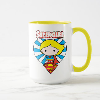 Chibi Supergirl Starburst Heart and Logo Mug