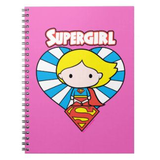 Chibi Supergirl Starburst Heart and Logo Notebooks