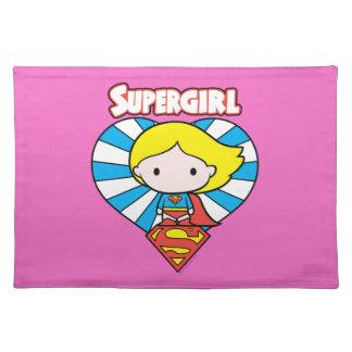 Chibi Supergirl Starburst Heart and Logo Placemat
