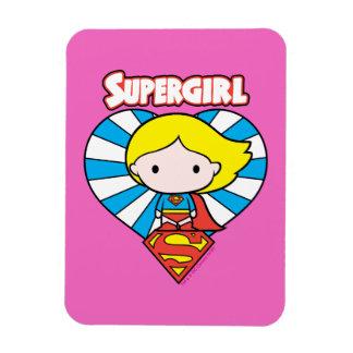 Chibi Supergirl Starburst Heart and Logo Rectangular Photo Magnet