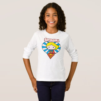 Chibi Supergirl Starburst Heart and Logo T-Shirt