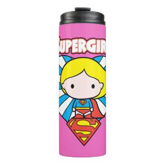 Chibi Supergirl Starburst Heart and Logo Thermal Tumbler
