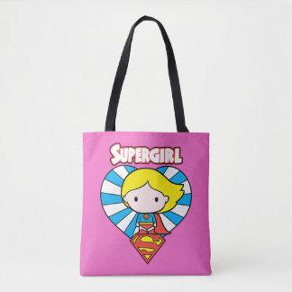 Chibi Supergirl Starburst Heart and Logo Tote Bag