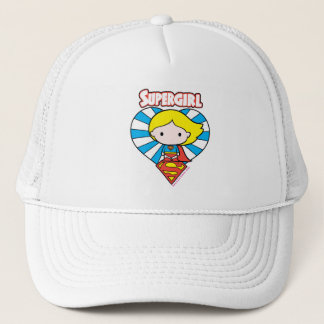 Chibi Supergirl Starburst Heart and Logo Trucker Hat