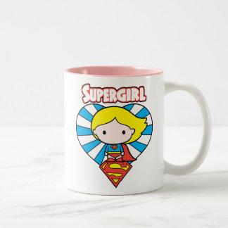 Chibi Supergirl Starburst Heart and Logo Two-Tone Coffee Mug