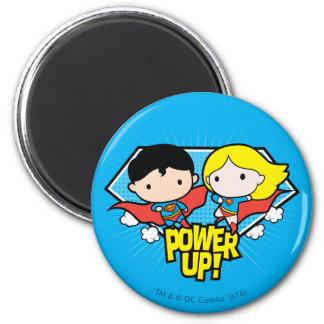 Chibi Superman & Chibi Supergirl Power Up! 6 Cm Round Magnet