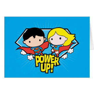 Chibi Superman & Chibi Supergirl Power Up! Card