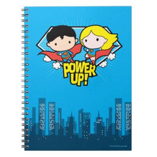 Chibi Superman & Chibi Supergirl Power Up! Spiral Notebook