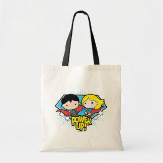 Chibi Superman & Chibi Supergirl Power Up! Tote Bag