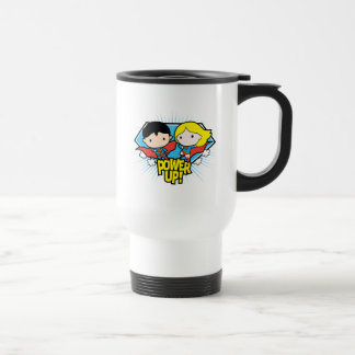Chibi Superman & Chibi Supergirl Power Up! Travel Mug