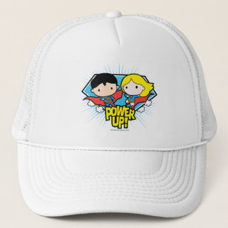 Chibi Superman & Chibi Supergirl Power Up! Trucker Hat