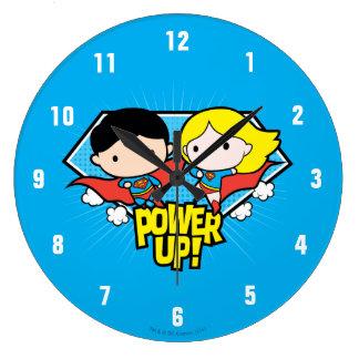 Chibi Superman & Chibi Supergirl Power Up! Wallclock