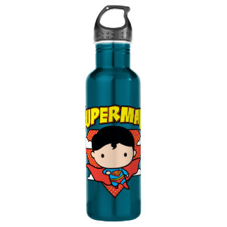 Chibi Superman Polka Dot Shield and Name 710 Ml Water Bottle