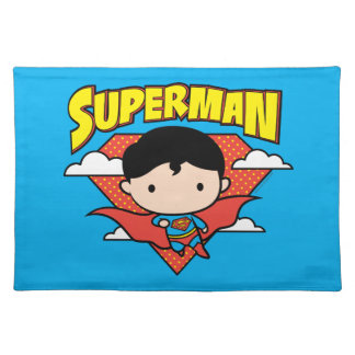 Chibi Superman Polka Dot Shield and Name Placemat